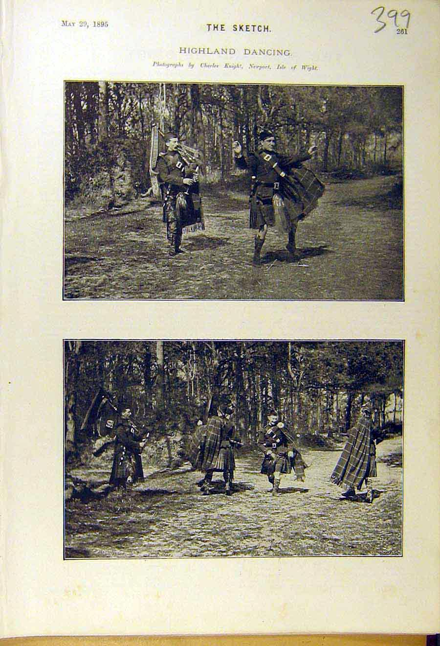 Print 1895 Highland Dancing Scottish Scotland Men 998661 Old Original
