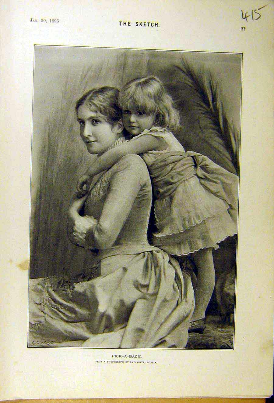 Print 1895 Pick-A-Back Lady Child Mother Portrait Woman Girl Old Original