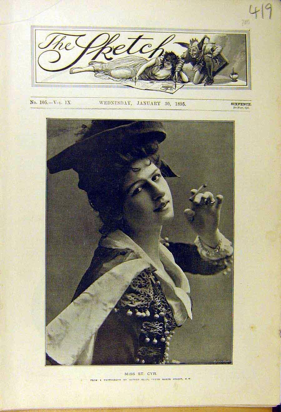 Print 1895 Portrait St. Cyr Lady Woman Cigarette 198661 Old Original