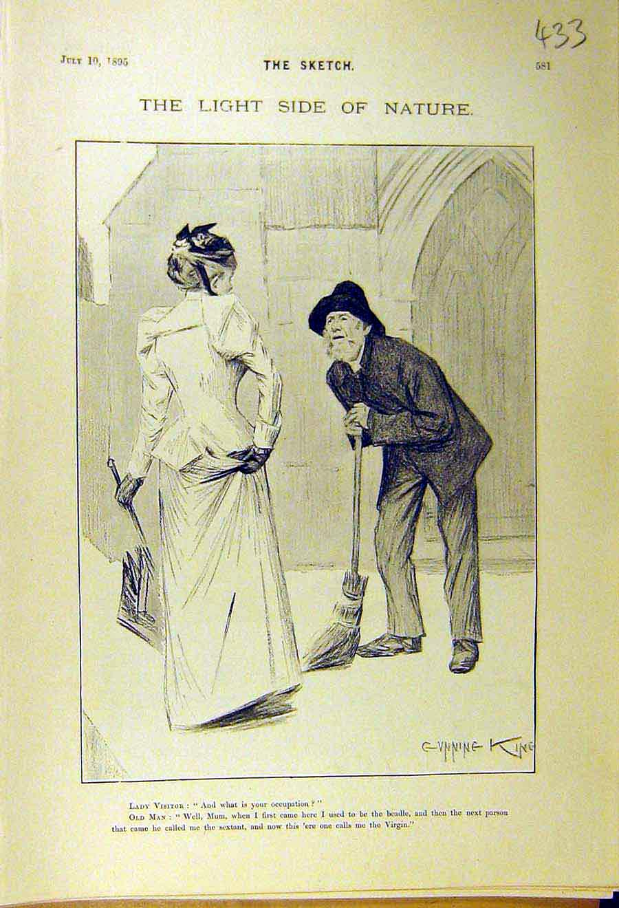 Print 1895 Comedy Sketch Gunning-King Lady Visitor Man 338661 Old Original