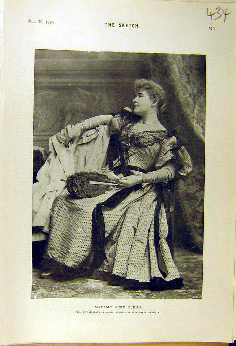 Print 1895 Madame Hope-Glenn Lady Woman Portrait 348661 Old Original