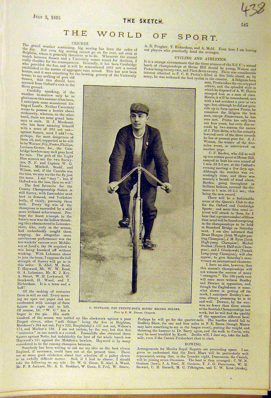 Print 1895 Sport Bicycle Fontaine Twenty-Four Hours Cycling 388661 Old Original