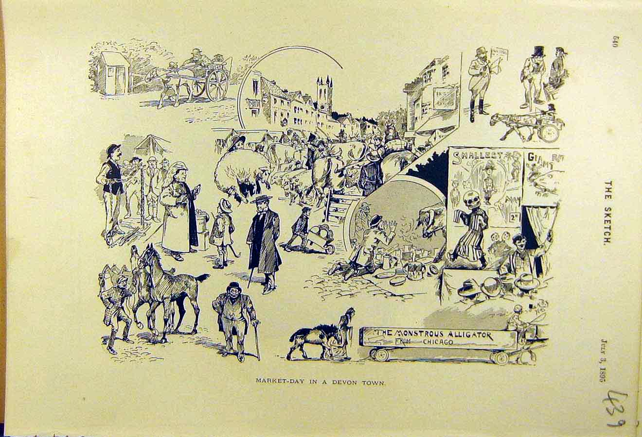 Print 1895 Market-Day Sketches Devon-Town People Places 398661 Old Original