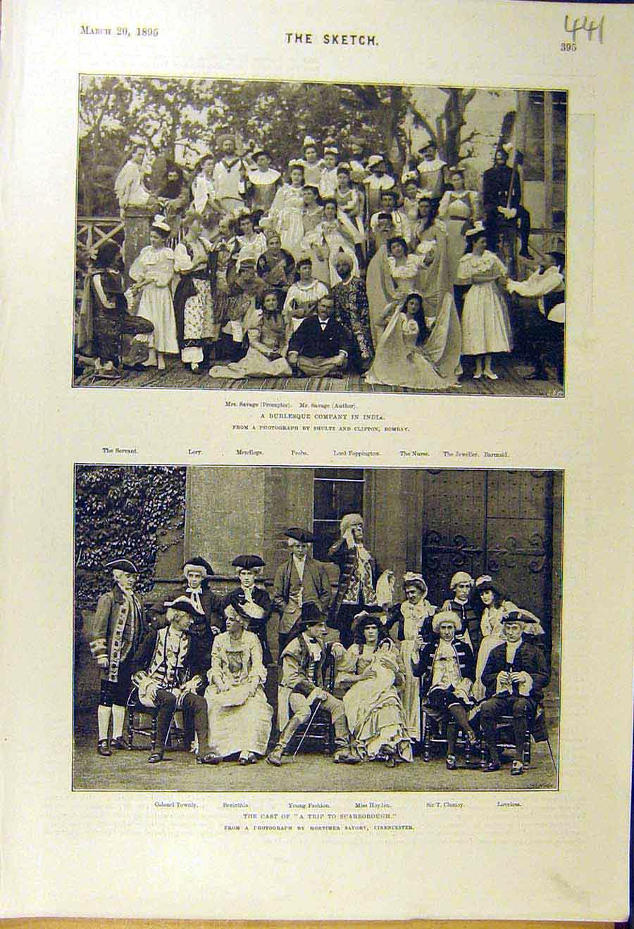 Print 1895 Burlesque Company India Cast Scarborough Theatre 418661 Old Original