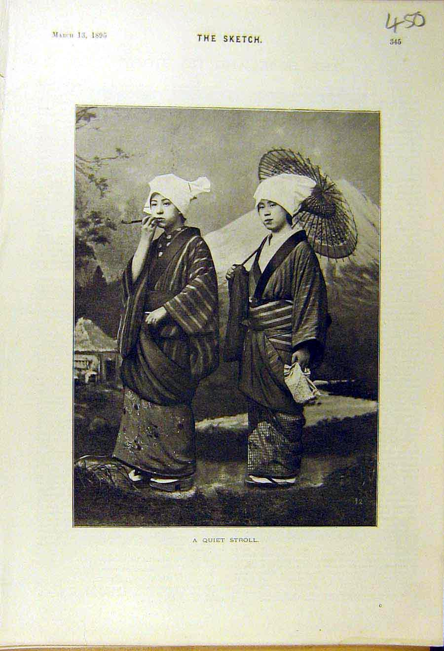 [Print 1895 Quiet Stroll Chinese Women 508661 Old Original]