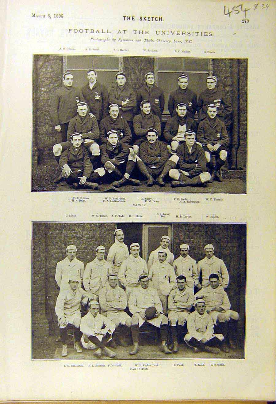 [Print 1895 Football Universities Oxford Cambridge Sport Team 548661 Old Original]