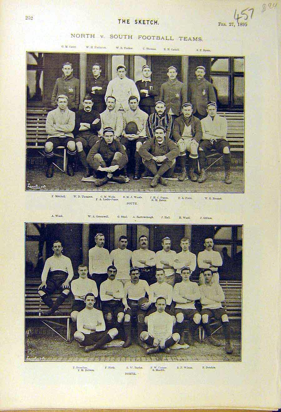 [Print 1895 Football Team North-South Sport 578661 Old Original]
