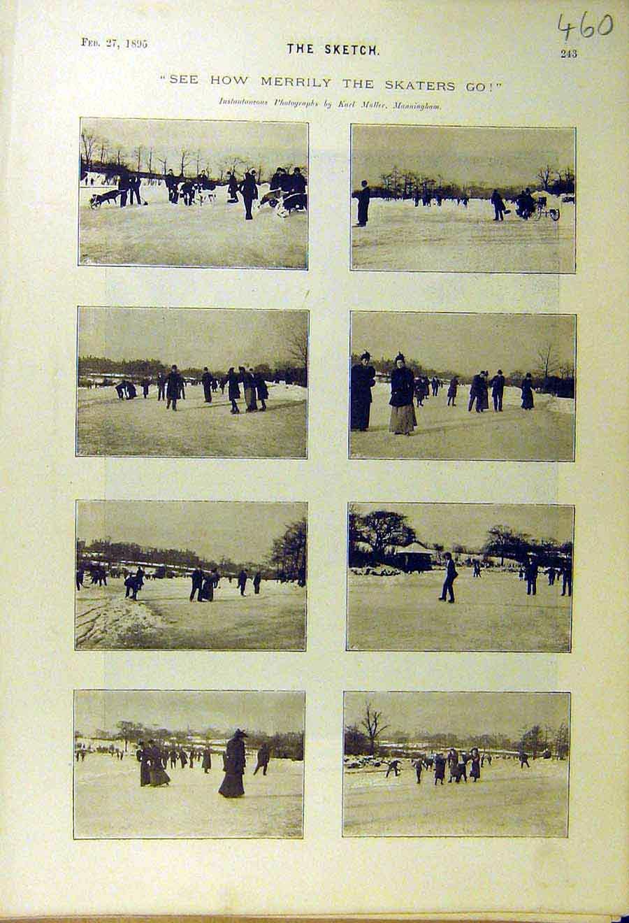 Print 1895 Skaters Ice-Skating Winter People Places 608661 Old Original