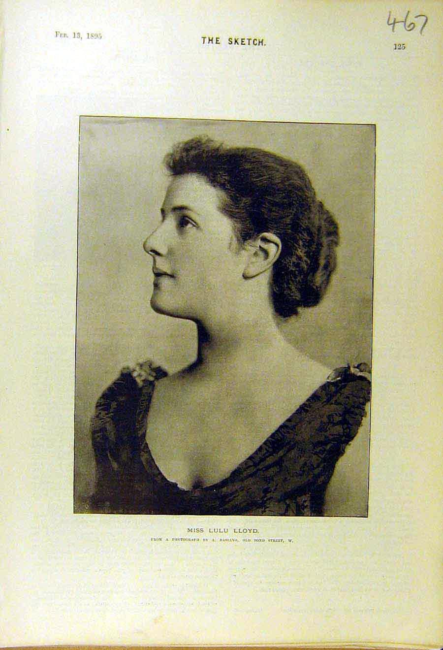 Print 1895 Lulu-Lloyd Photo Portrait Lady Woman 678661 Old Original