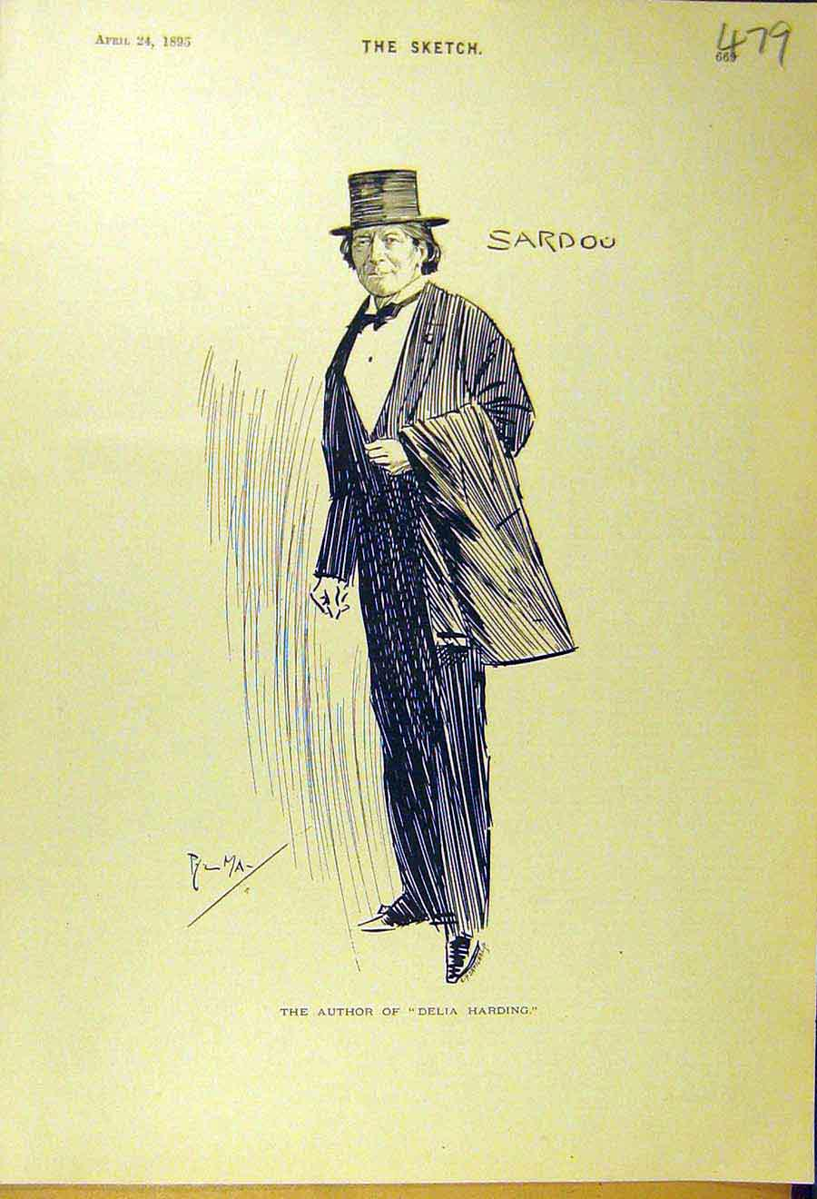 Print 1895 Author Delia-Harding Sardou Portrait Sketch 798661 Old Original