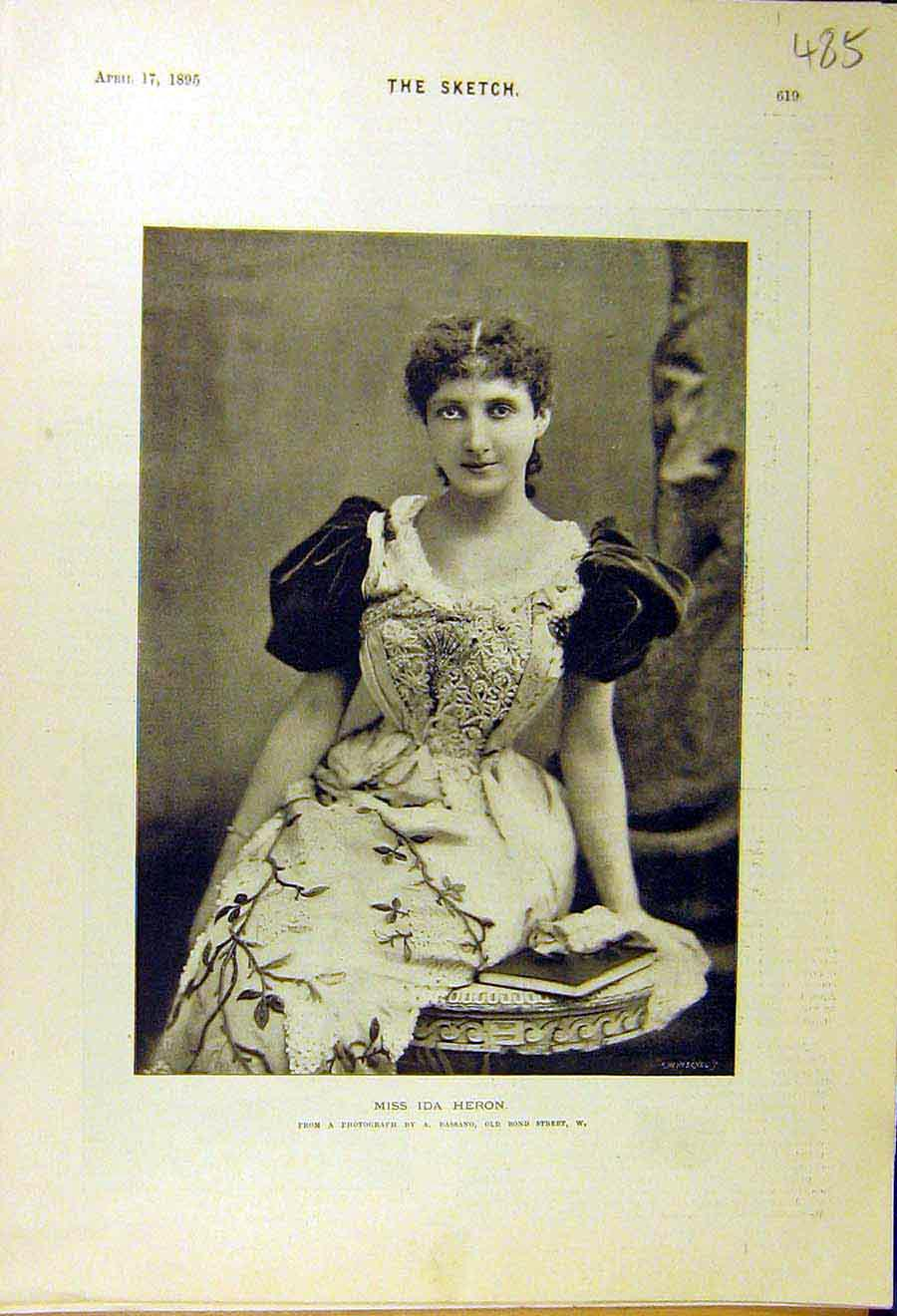 Print 1895 Ida Heron Photo Portrait Lady Woman 858661 Old Original