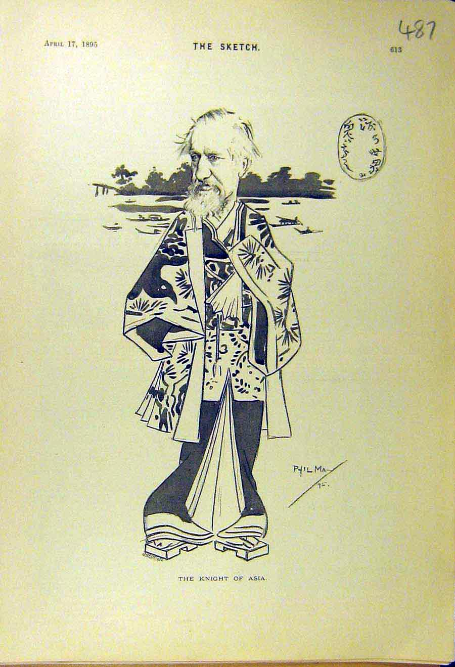 Print 1895 Knight Asia Sketch Caricature Comedy 878661 Old Original