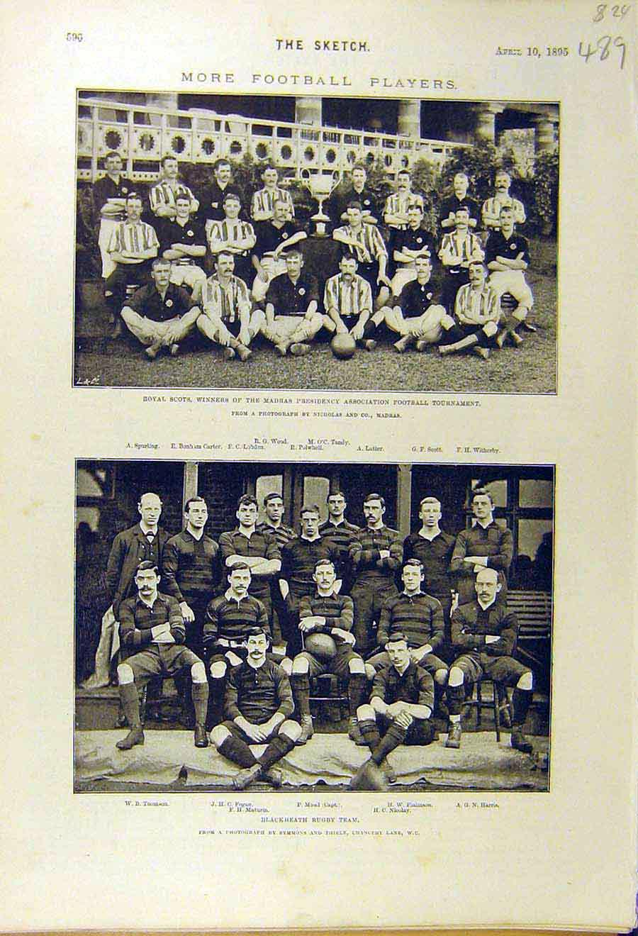 [Print 1895 Football Royal Scots Blackheath Team Sport 898661 Old Original]