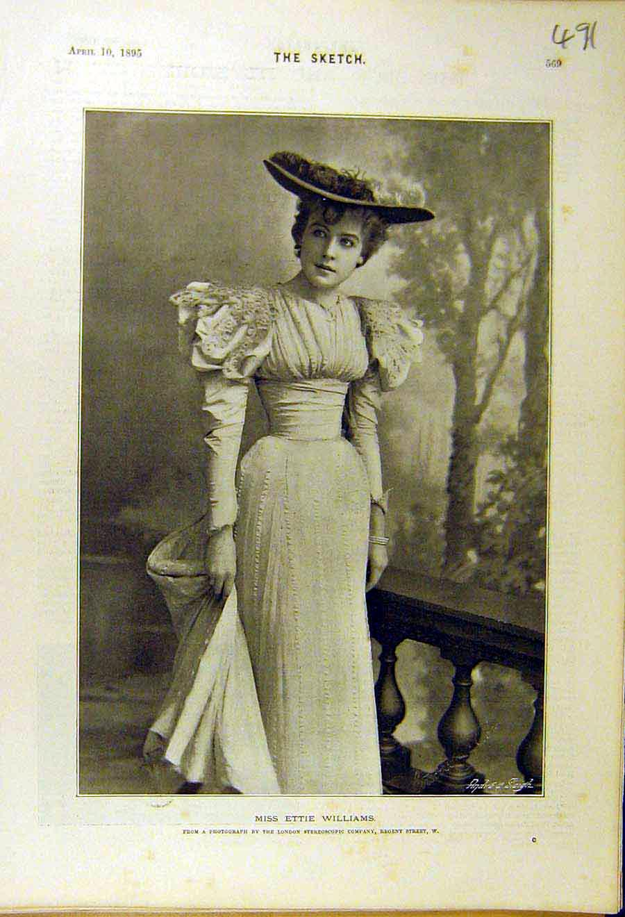Print 1895 Ettie-Williams Photo Portait Lady Woman 918661 Old Original