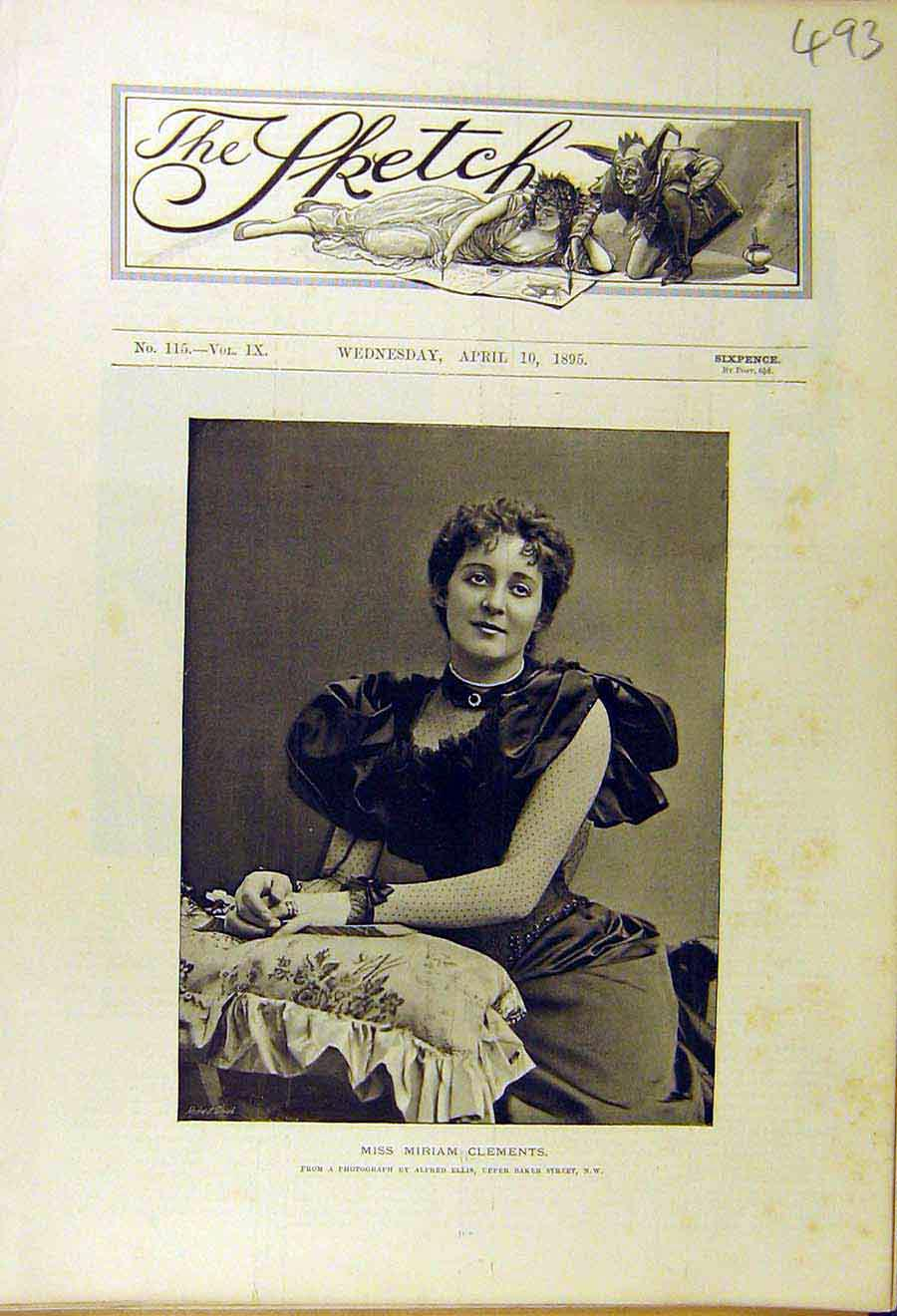 Print 1895 Miriam-Clements Photo Portrait Lady Woman 938661 Old Original