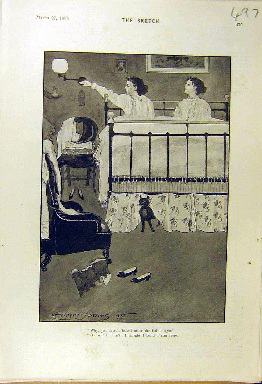Print 1895 James Comedy Sketch Ladies Bed Cat 978661 Old Original