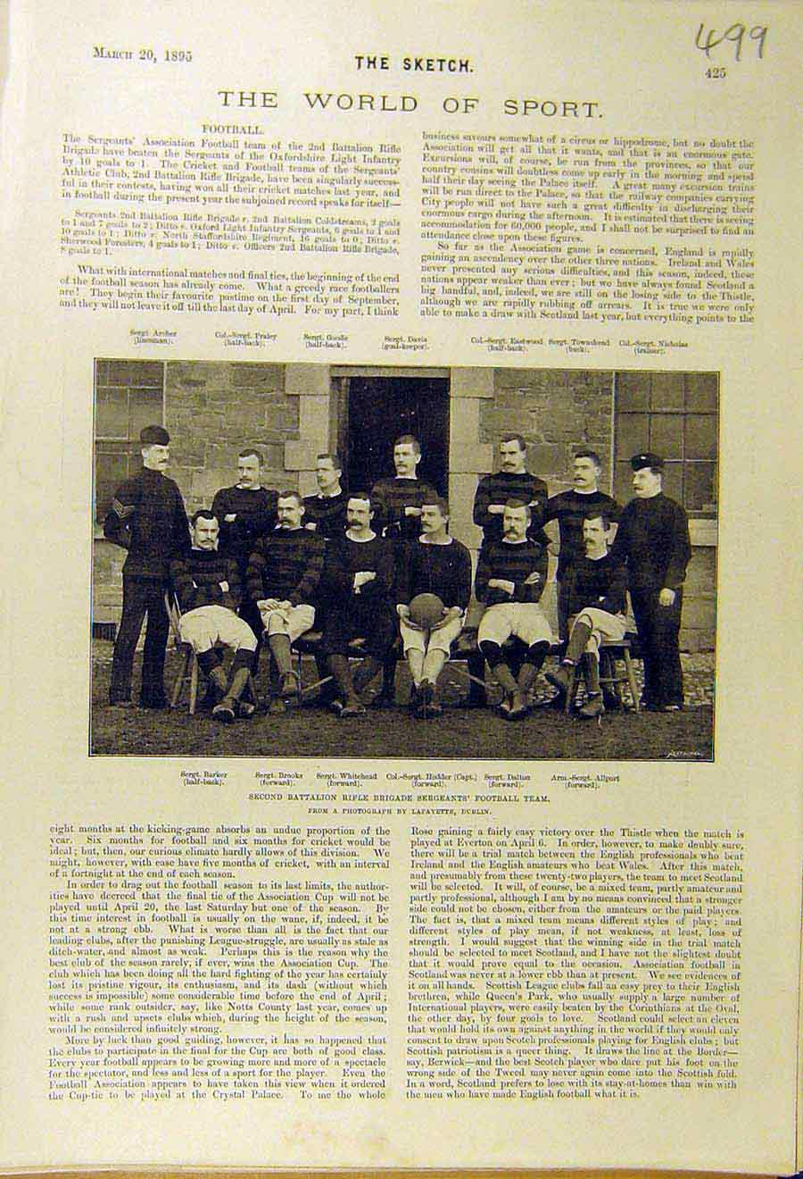 Print 1895 Football Sport Rifle Brigade Sergeants Team 998661 Old Original