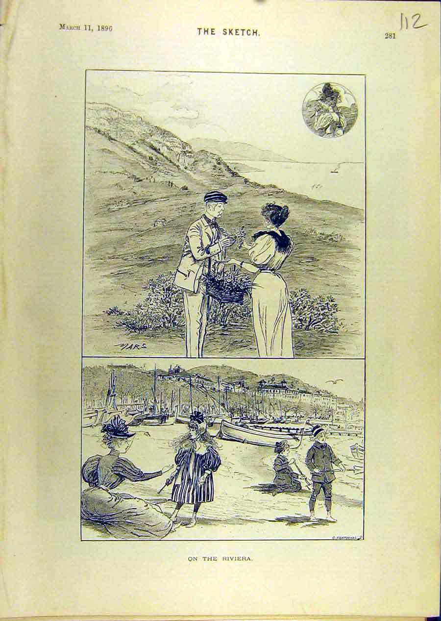 Print 1896 Riviera Sketches Mars Lady Gent Beach Seaside 128671 Old Original