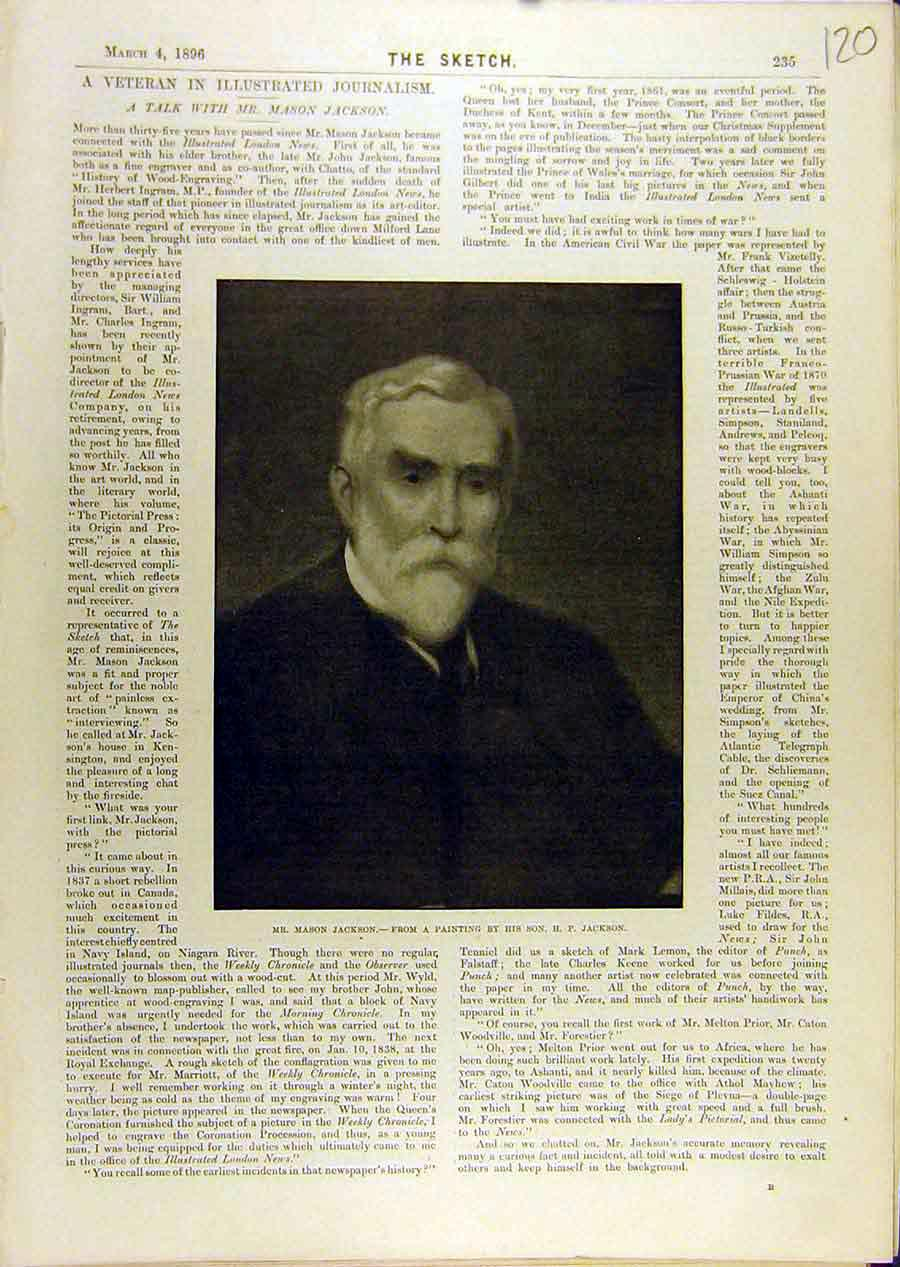 Print 1896 Portrait Mason-Jackson Painting 208671 Old Original