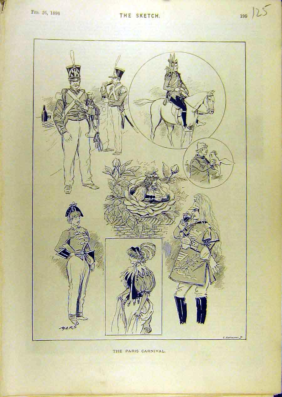 Print 1896 Paris Carnival Sketches Military 258671 Old Original