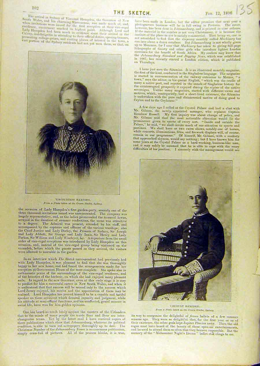 Print 1896 Portrit Viscountess Hampden Viscount 358671 Old Original