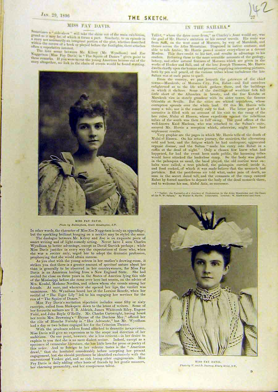Print 1896 Portrait Fay-Davis Actress Theatre 428671 Old Original