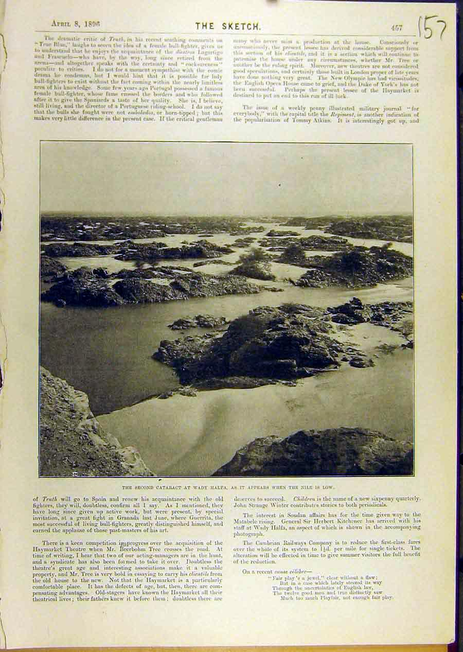 Print 1896 Cataract Wady-Halfa Nile River Africa 578671 Old Original
