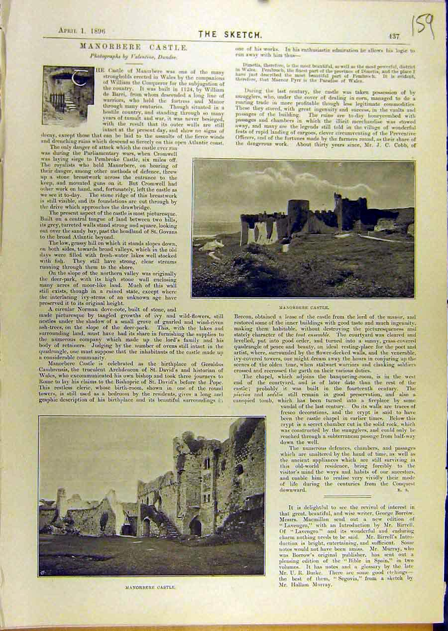 Print 1896 Manorbere Castle Wales Building Ruins 598671 Old Original