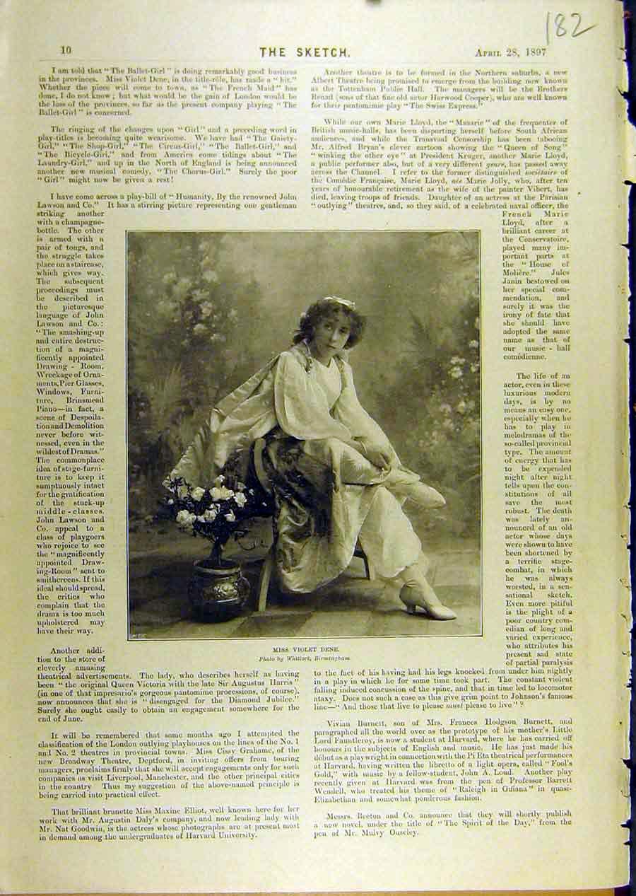 Print 1897 Portrait Violet-Dene Lady Actress Theatre 828671 Old Original