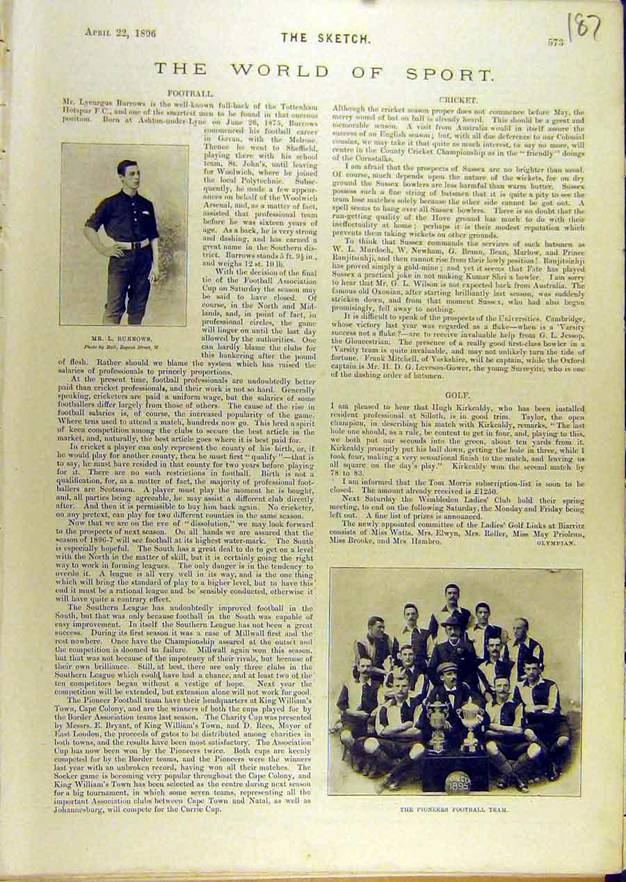 [Print 1896 Sport Burrows Football Piioners Team 878671 Old Original]