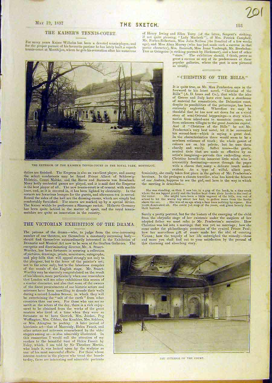 Print 1897 Kaiser Tennis-Court Royal-Park Montbijou 018671 Old Original