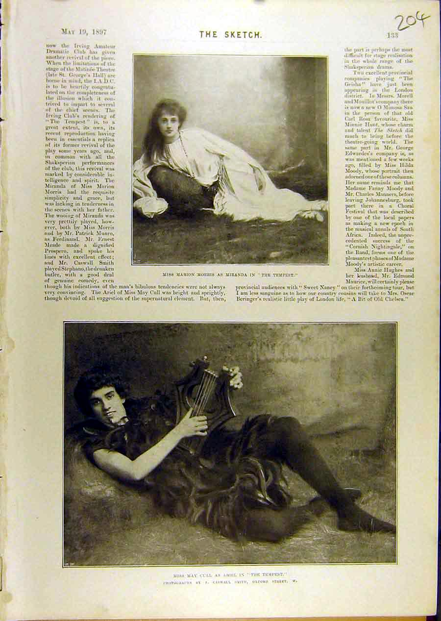 Print 1897 Portrait Marion Mirana Tempest Theatre May-Cull 048671 Old Original