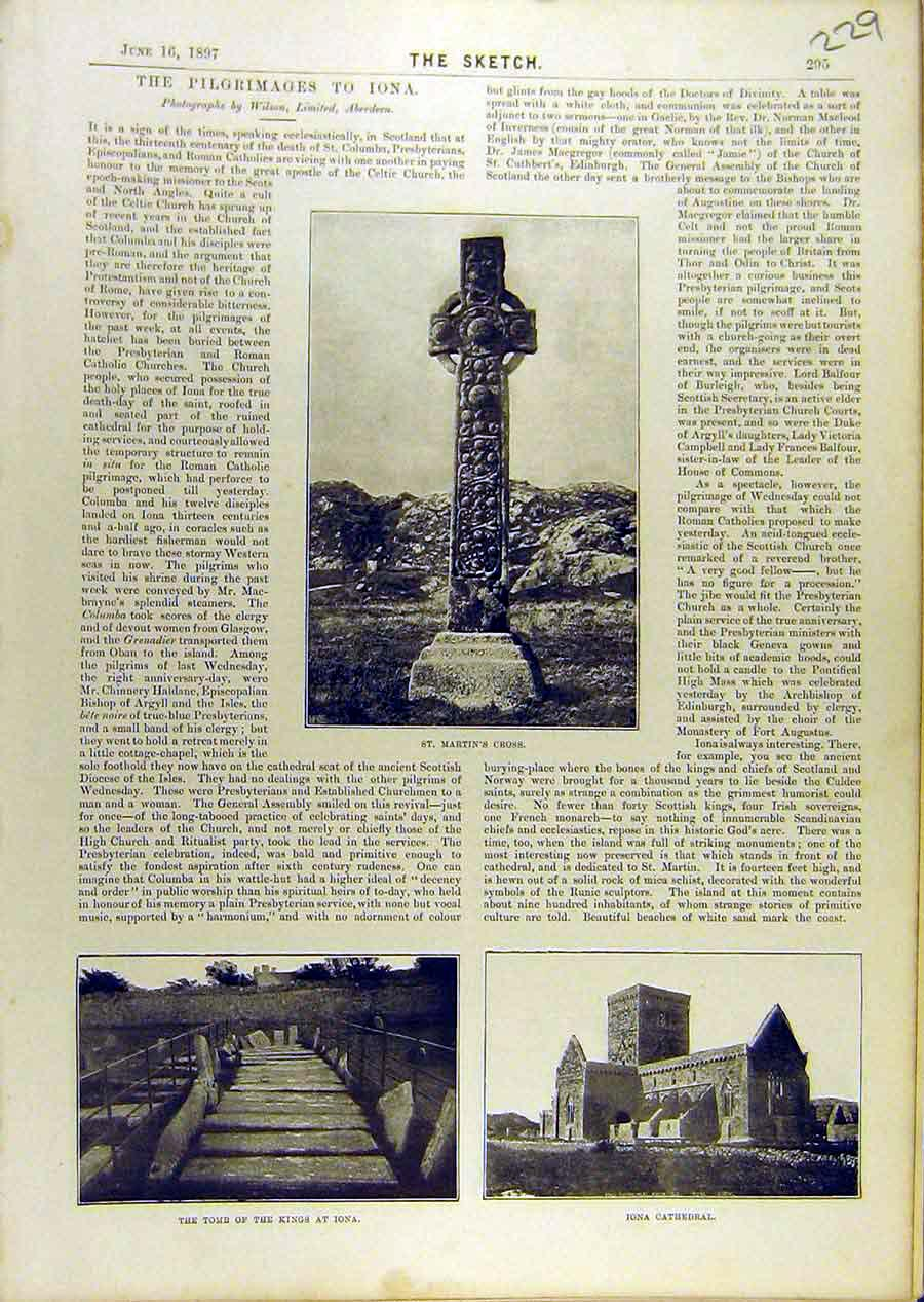 Print Pilgrimage Iona St-Martin'S Cross Tomb Cathedral 298671 Old Original