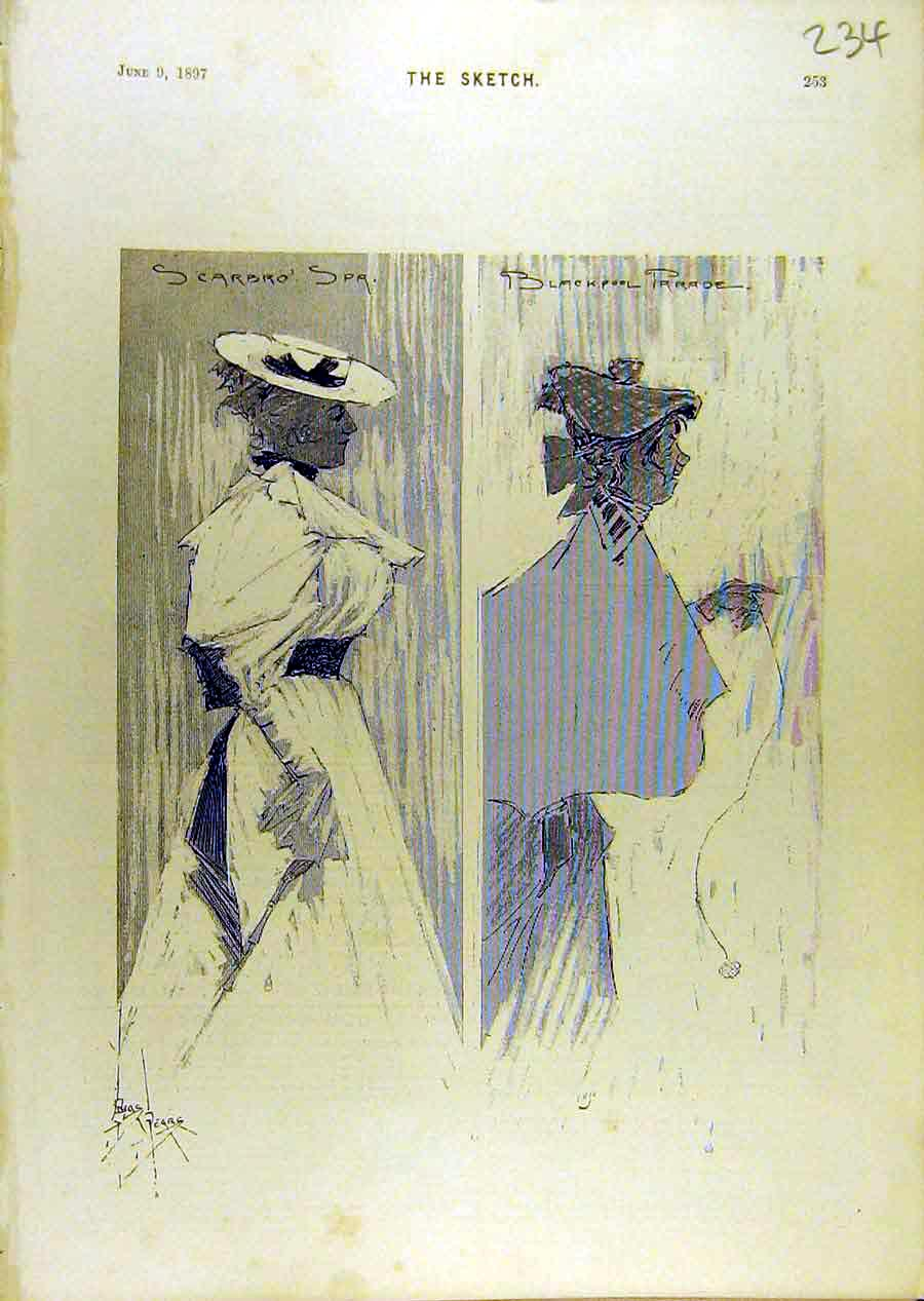 Print 1897 Sketches Scarbro Spa Blackpool Parade Pears 348671 Old Original