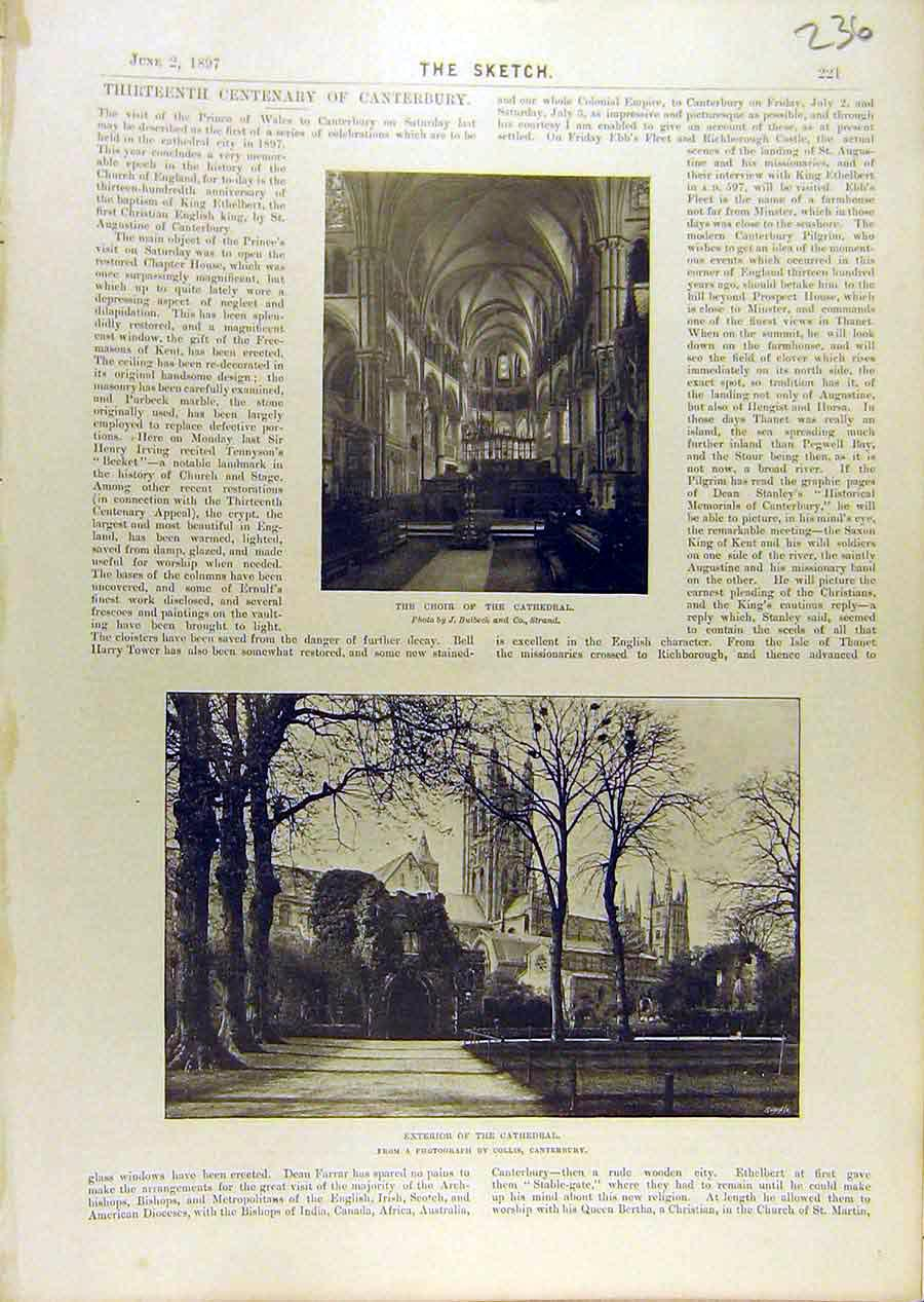 Print 1897 Choir Cathedral Canterbury Building 368671 Old Original