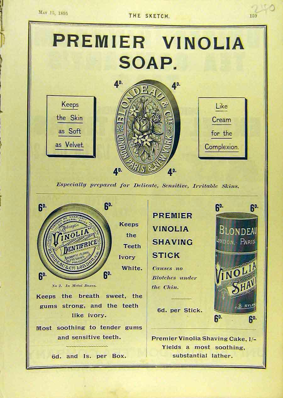 Print 1895 Advert Premier Vinolia Soap Cream Dentifrice 408671 Old Original