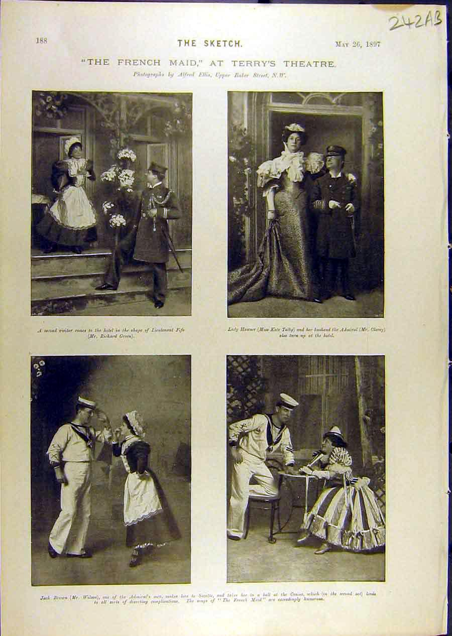 Print 1897 Theatre Terry'S Scenes French-Maid Pounds Taiby 42A8671 Old Original