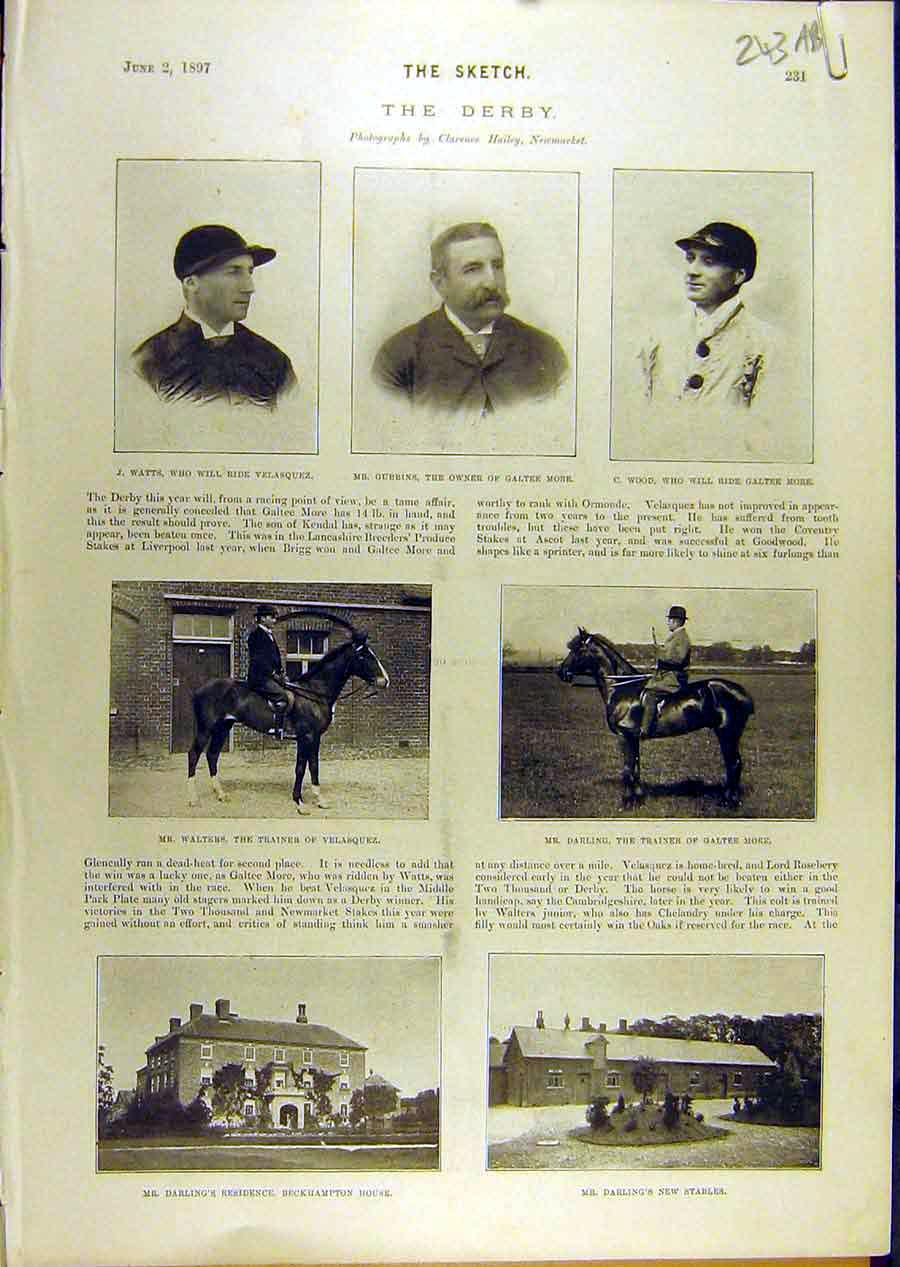 Print 1897 Derby Race-Horse Walters Velasquez Darling 43A8671 Old Original