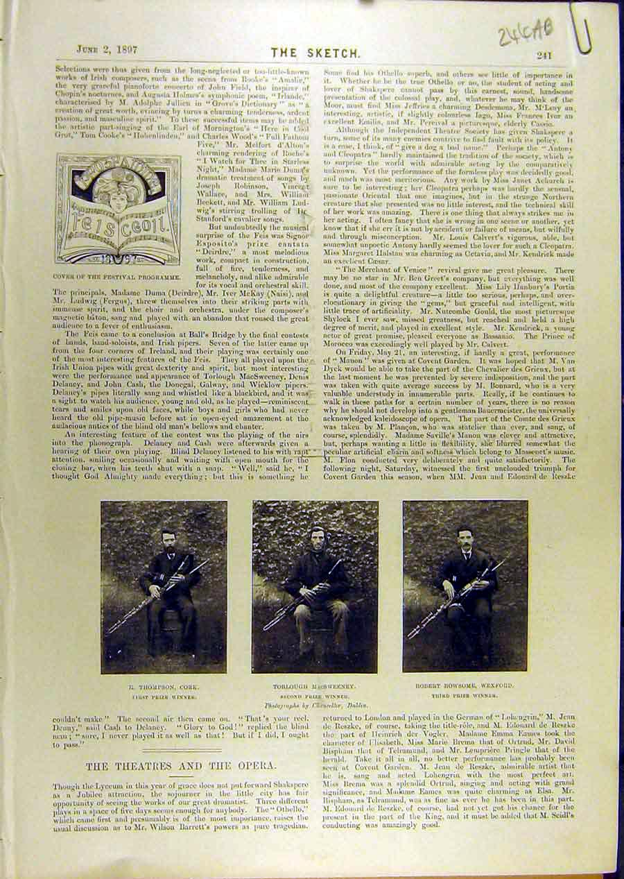 Print 1897 Cork Macsweeney Wexford Musician Winners 44A8671 Old Original