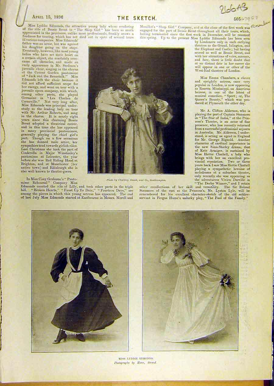 Print 1896 Lyddie Edmonds Freear Mccarthy Tapley Actor Scenes 66A8671 Old Original