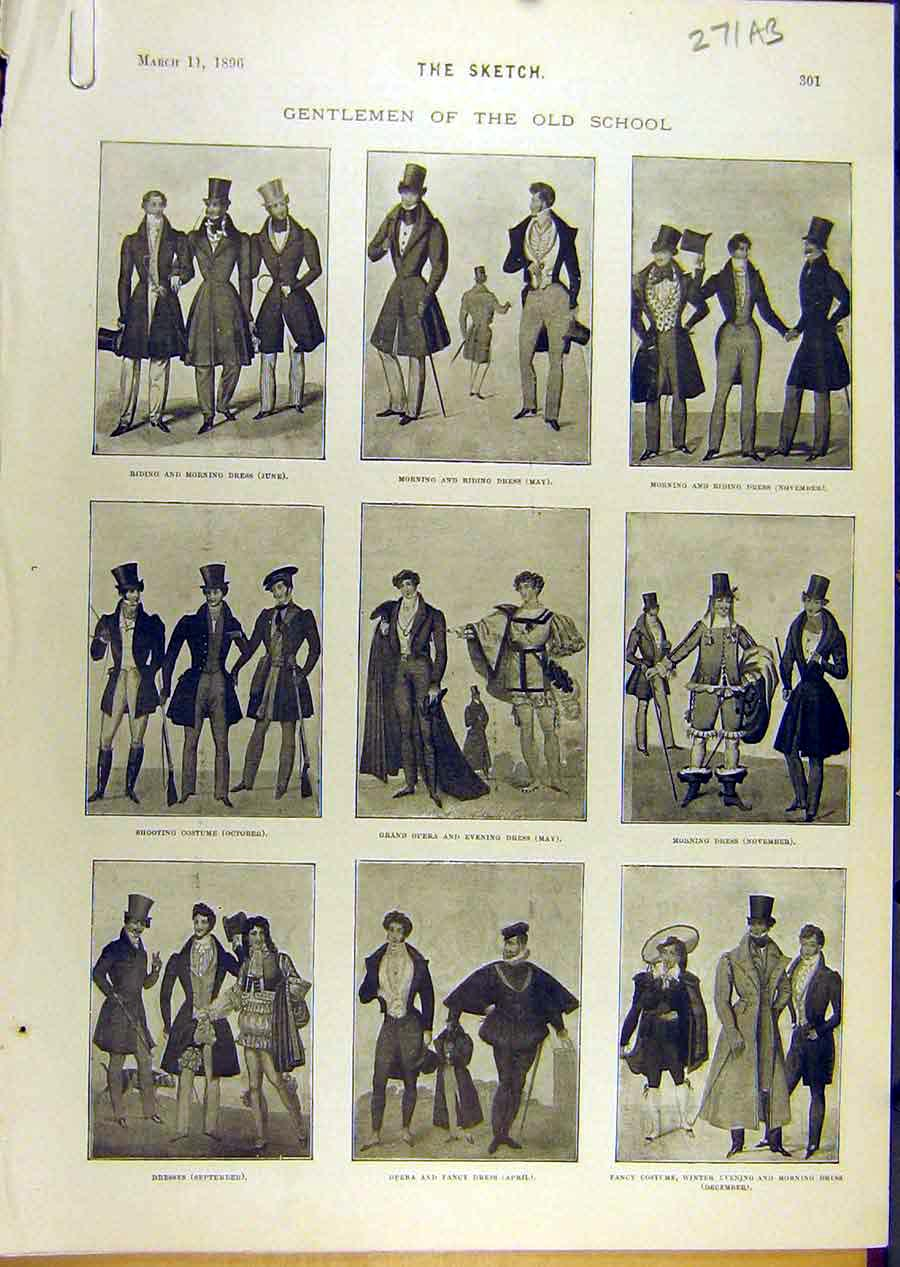 Print 1896 Gentlemen Old-School Sketches Fashions Dress 71A8671 Old Original