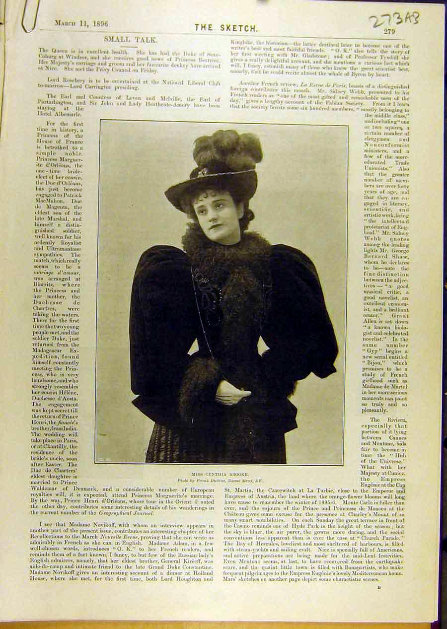 Print 1896 Cynthia-Brooke Portrait Dog Actress Theatre 73A8671 Old Original