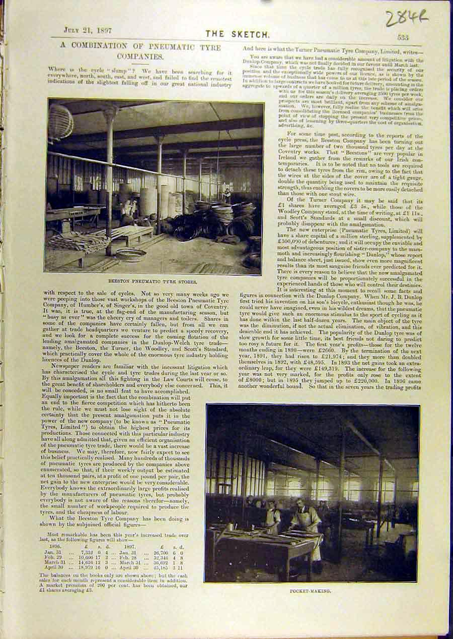 Print 1897 Pneumatic Tyre Company Factory Beeston Industry 84R8671 Old Original