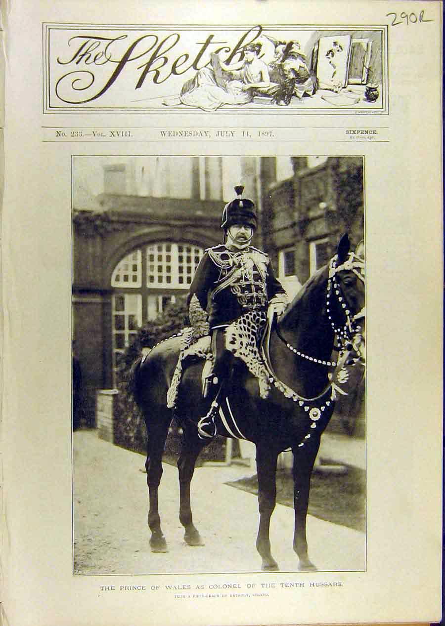 Print 1897 Prince Wales Hussars Meilhac Downer Greyhound Dog 90R8671 Old Original