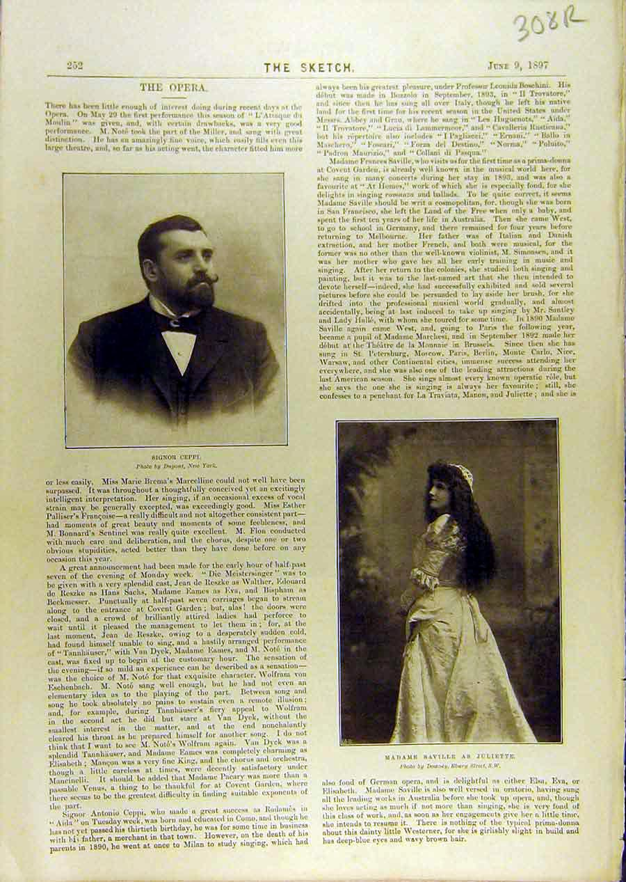 Print 1897 Opera Ceppi Saville Portrait Madge People 08R8671 Old Original