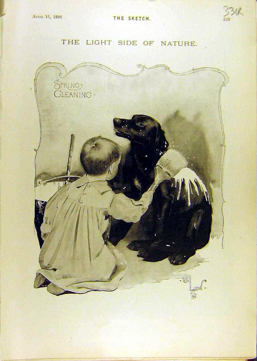 Print 1896 Spring Cleaning Dog Boy Lady Bicycle Sketch 31R8671 Old Original