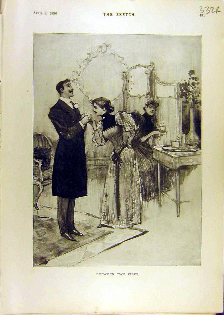 Print 1896 Lady Gent Sketch Comedy Fishermen Gents 32R8671 Old Original