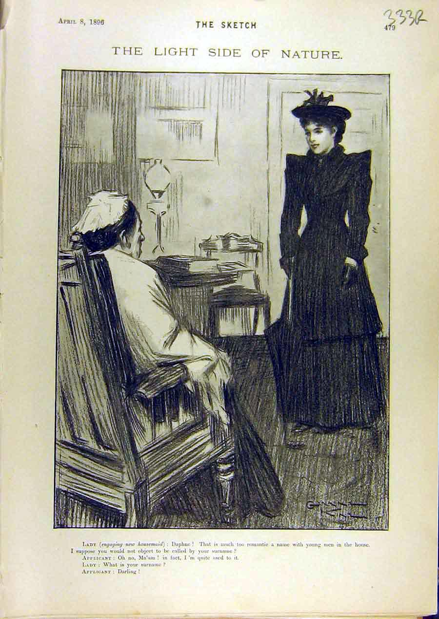 Print 1896 Sketch Lady Applicant Job Gent Blind Man 33R8671 Old Original