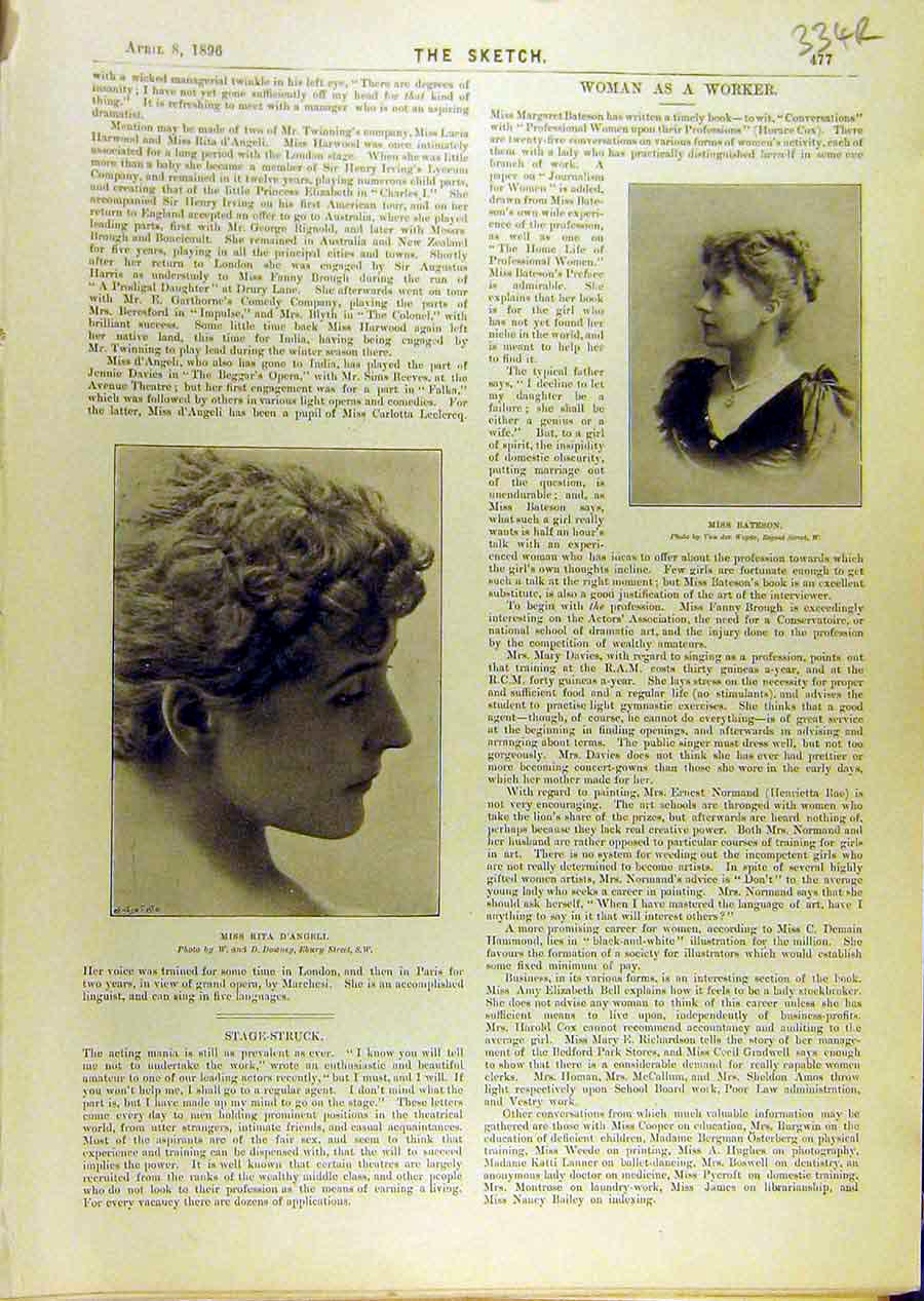 Print 1896 Women Worker Bateson D'Angeli Sharp Celtic Lyre 34R8671 Old Original