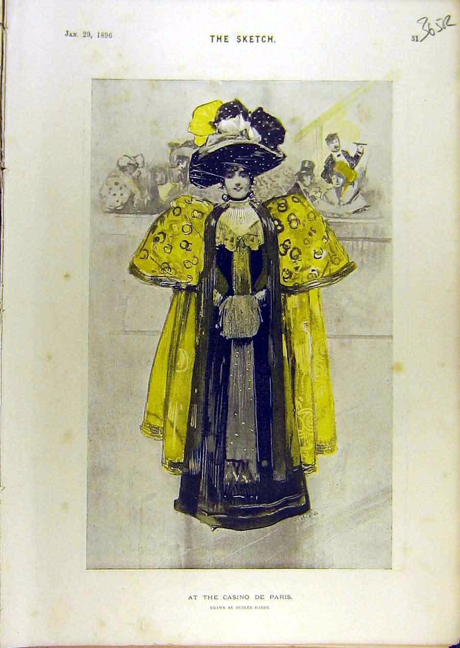 Print 1896 Casino Paris Lady Portrait Pollies Birds Sketch 65R8671 Old Original